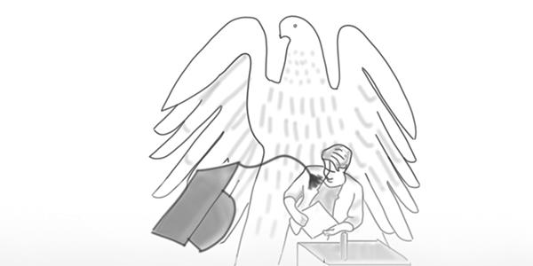 Davonfliegendem Doktorhut im Bundestag